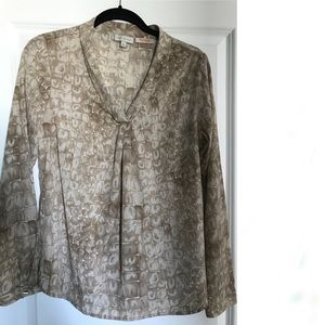 Long sleeve animal print blouse - neutral chic